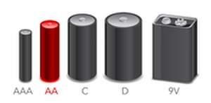 Alkaline Batter sizes